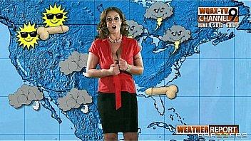 Big-boobed horny weather girl Eva Notty fucks her news producer