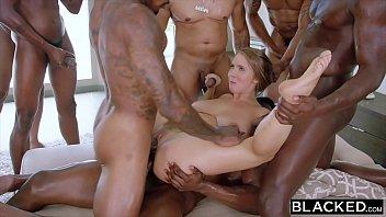 BLACKED Lena Paul first interracial gangbang