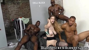 Slut Stella Cox gets interracial gangbanged